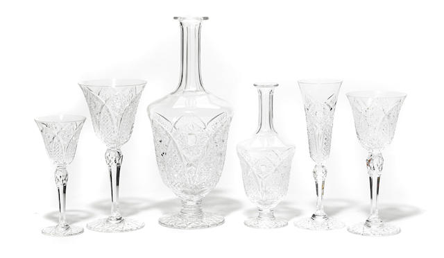 A suite of Crystal St. Louis cut glass barware