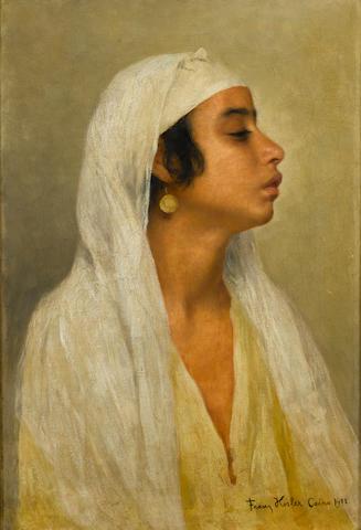 Franz Xavier Kosler (Austrian, 1864-1905) A portrait of an Egyptian girl 23 x 16in