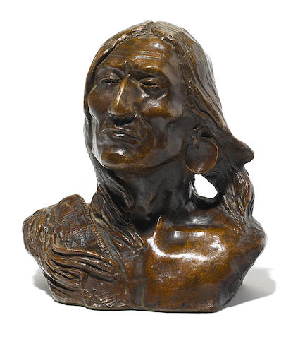 Charles Marion Russell (1864-1926) Sleeping Thunder 7in high (Modeled in 1901.)