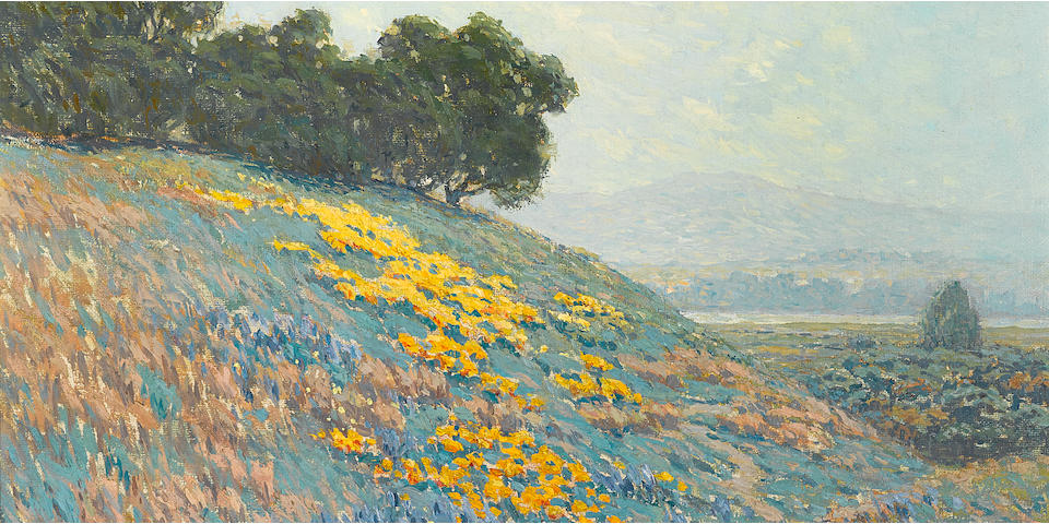 Granville Redmond (American, 1871-1935) Landscape with poppies, lupine and distant lake 16 x 20in overall: 24 x 28in