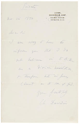 """DARWIN, CHARLES. 1809-1882. Autograph Letter Signed (""""Ch. Darwin""""),"""