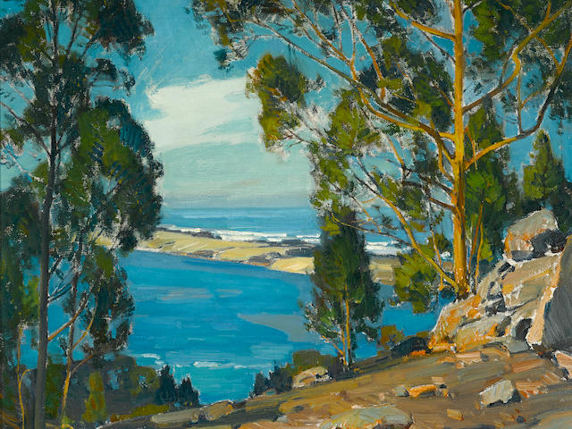 William Wendt (American, 1865-1946) The bay, the bar, the sea (at Morro) 25 x 30in overall: 32 x 37in (Painted in 1925)