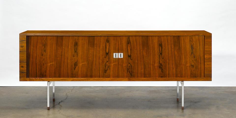 Hans Wegner (1914-2007) Sideboardmodel RY25, circa 1960, for RY Møbler, Brazilian rosewood, chrome plated steelheight 31 1/2in (80cm); width 78 3/4in (200cm); depth 19 1/4in (48.8cm)