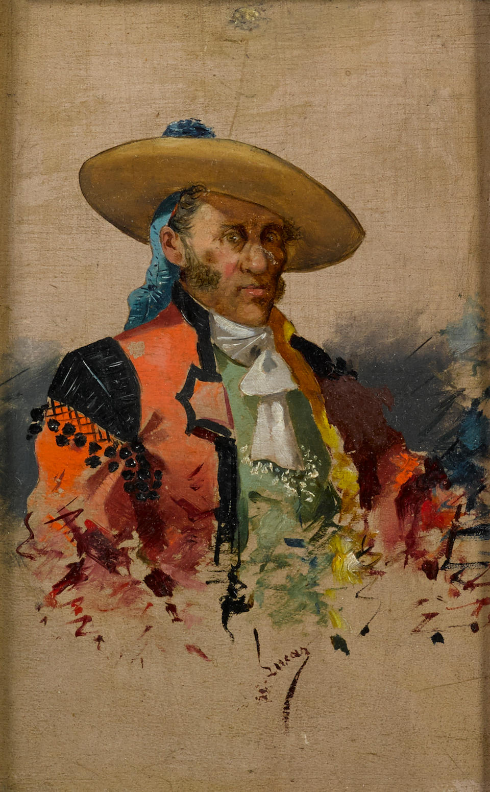 Eugenio Lucas Villamil (Spanish, 1858-1918) A portrait of a bullfighter; also a companion portrait (a pair) 6 1/4 x 4 1/4in