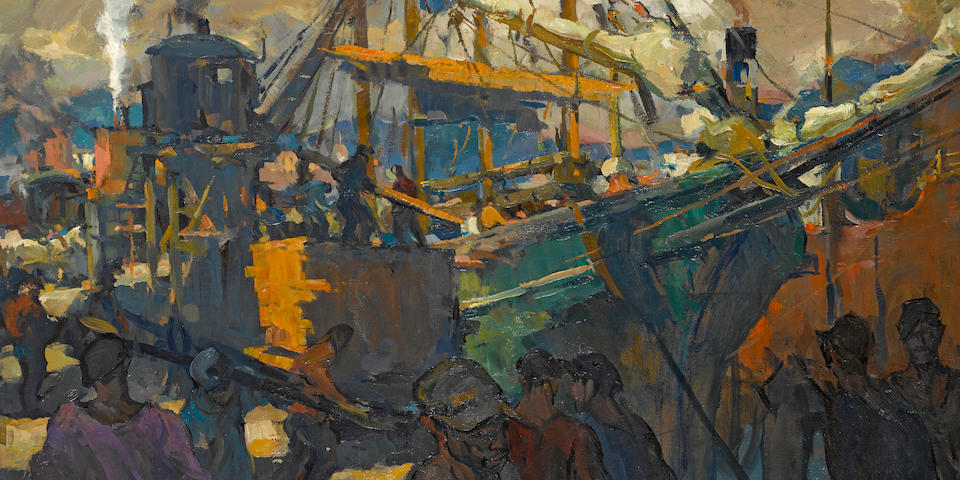 Armin Hansen (American, 1886-1957) Lumber carriers 23 1/4 x 38in