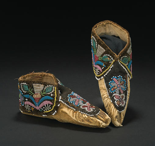 A pair of Huron beaded moccasins