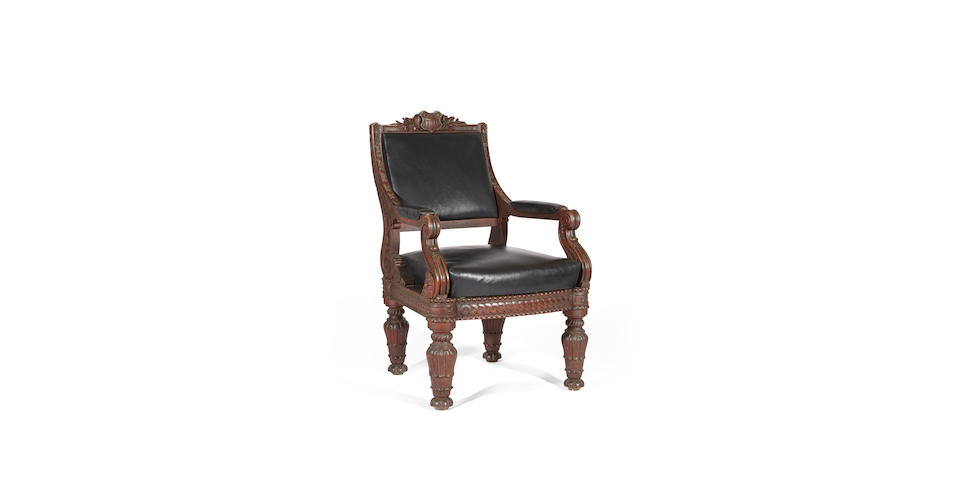 The important Mathew Brady Studio carved oak armchair, Made by Bembe & Kimbel, New York, circa 1857