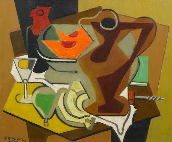 Jean Metzinger (1883-1956) Pichet, fruits et tire-bouchon  23 3/4 x 28 7/8 in (60.5 x 73.5 cm) (Painted circa 1950-1956)