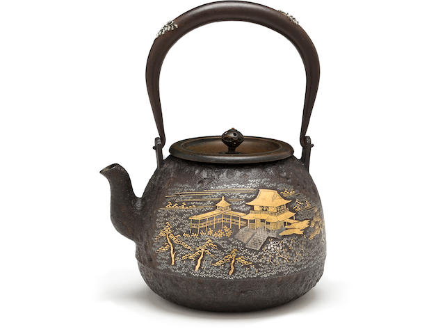 An inlaid-iron tetsubin (kettle) Meiji era (late 19th century)