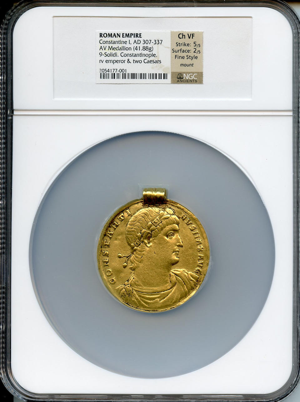 Roman Empire, Constantine I, The Great, Gold Medallion of 9 Solidi, 307-337 A.D. Choice VF NGC