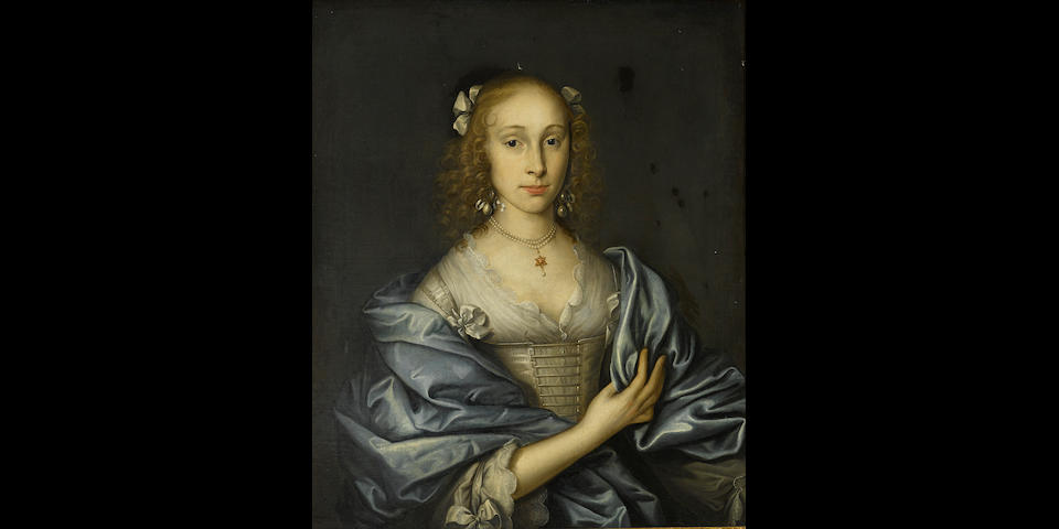 Circle of John Michael Wright (London 1617-1694) A portrait of a lady, half-length, in a white dress and blue wrap wearing a pearl necklace with a six pointed star pendant 28 1/2 x 24in