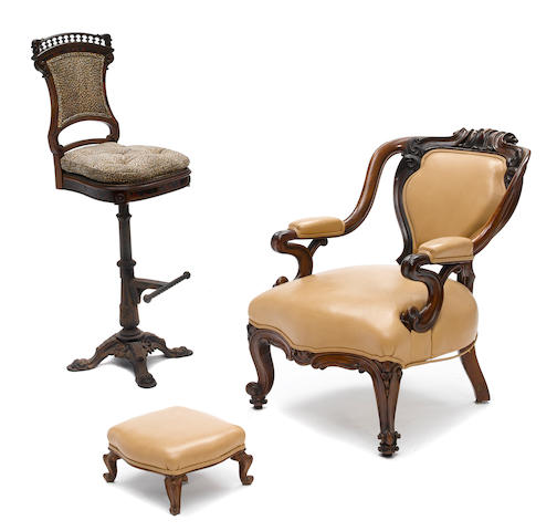 A Victorian carved rosewood armchair with a similar foot stool together with a revolving stool