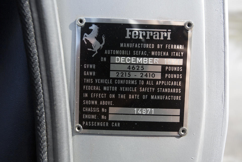 1971 FERRARI 365GTC/4  Chassis no. 14871 Engine no. 14871