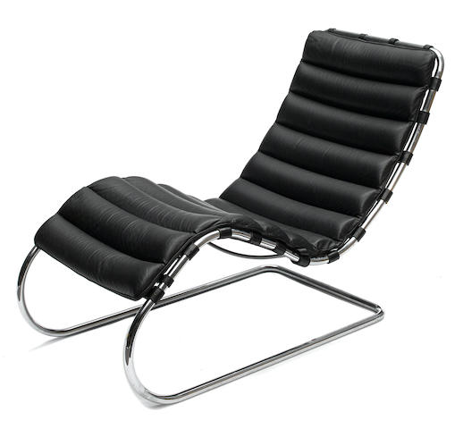 A Ludwig Mies Van Der Rohe MR100 Chaise Longue Designed 1927 Chrome Plated Steel