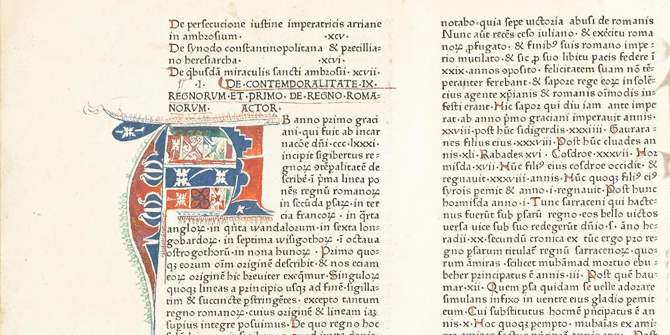 VINCENT OF BEAUVAIS. c.1190–1264? Speculum historiale. [Strassburg]: Johann Mentelin, [1473].