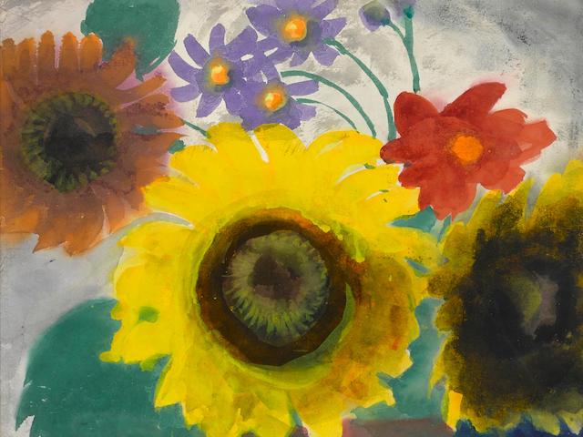 Emil Nolde (1867-1956) Sonnenblumen und kleine Blüten 13 3/4 x 17 3/8 in (35.1 x 44.6 cm) (Painted circa 1930)