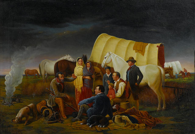 After William T. Ranney Advice on the Prairie 14 x 20in