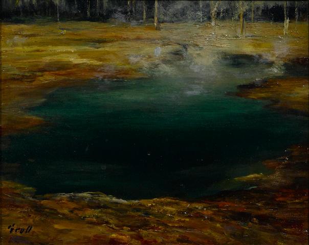 Albert Lorey Groll (American, 1866-1952) Green pool, Yellowstone 8 x 10in