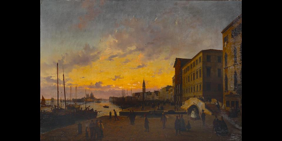 Luigi Querena (Italian, 1820-1887) Riva degli Schiavoni, Venezia 25 1/2 x 36 3/4in (64.7 x 93.3cm)