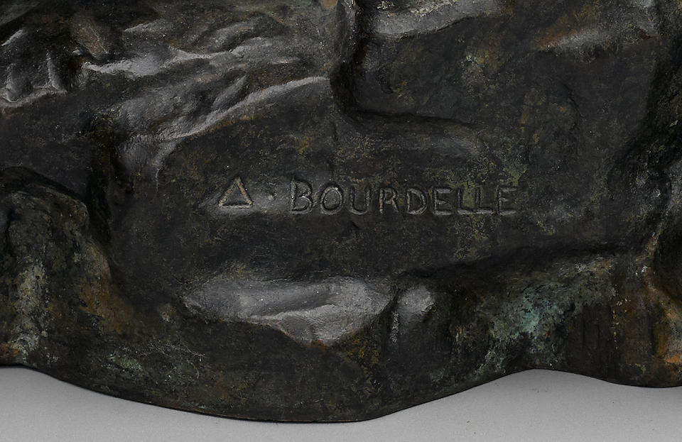 Émile-Antoine Bourdelle (1861-1929) Baigneuse accroupie, petit modèle 10 1/2 in (26.7 cm) (height) (Conceived in 1906-1907, this bronze cast circa 1933 as part of an edition of eight plus two artist's proofs)