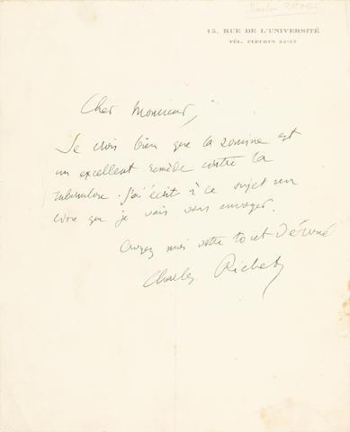 "RICHET, CHARLES. 1850-1935. Autograph Letter Signed (""Charles Richet""),"
