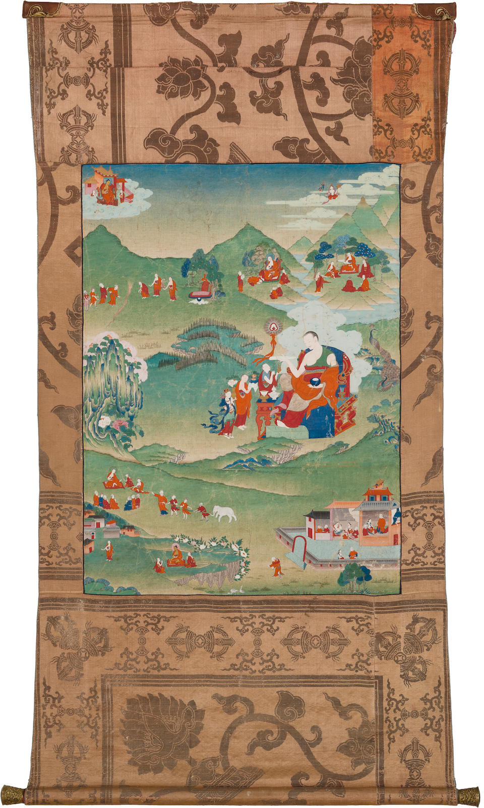 A thangka from an arhat set: Pindola Bharadvaja Eastern Tibet, Palpung style, 18th century