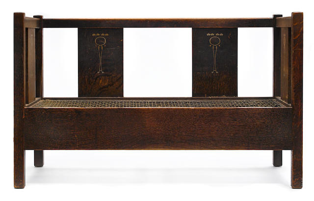 A rare Harvey Ellis and/or LaMont A. Warner for Gustav Stickley inlaid oak settle circa 1903