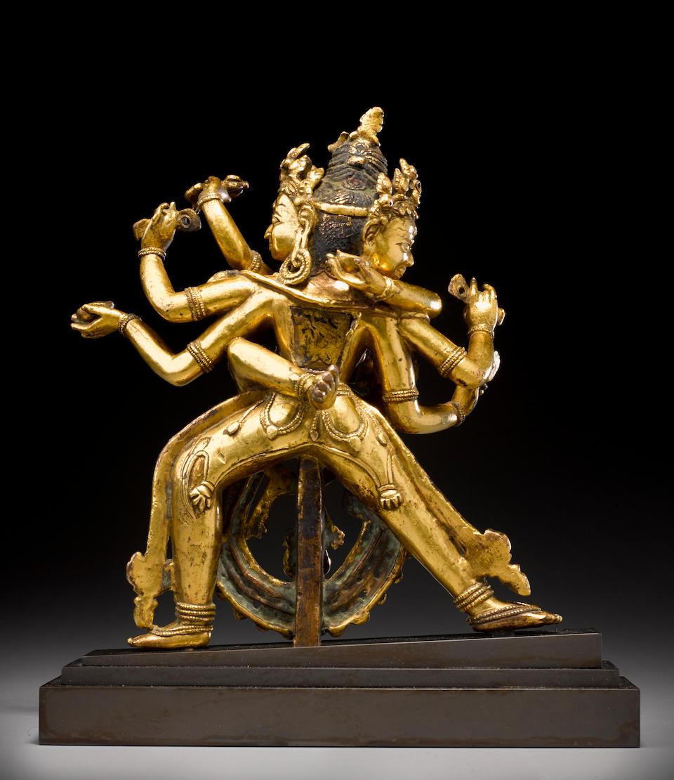 A gilt copper alloy figure of Chakrasamvara  Tibet, Densatil style, 14th/15th century