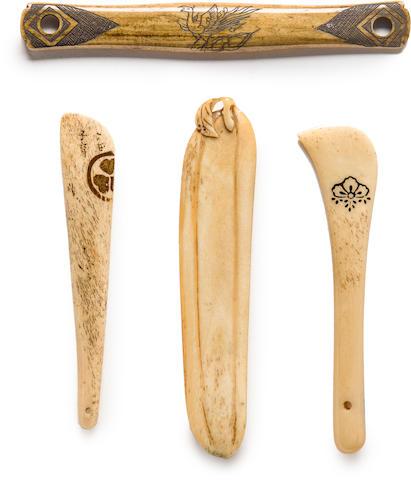 Four stag-antler sashi netsuke Edo period (19th century)