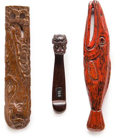 Three tall wood netsuke Edo period (19th century)