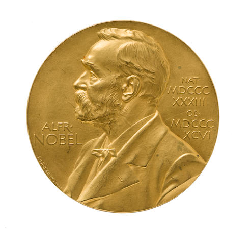 THE 1934 NOBEL PRIZE MEDAL FOR PHYSIOLOGY OR MEDICINE.  PRESENTED TO GEORGE MINOT FOR HIS PIONEERING WORK ON PERNICIOUS ANEMIA.