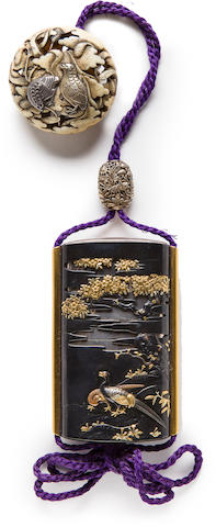 A silver three-case inro with a shakudo saya By Unno Yoshimori II, (1864-1919), early 20th century