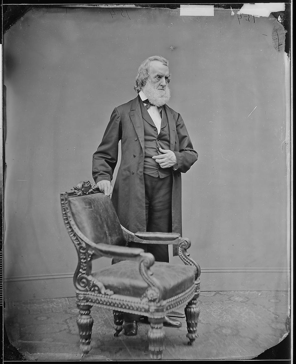The important Mathew Brady Studio carved oak armchair, Made by Bembe & Kimbel, New York, circa 1857