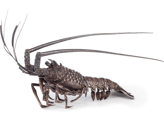 A fine silver jizai okimono of a crayfish By Takase Torakichi (Kozan, 1869-1934), Meiji/Taisho era (early 20th century)