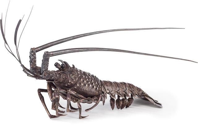 A fine silver jizai okimono of a crayfish By Takase Torakichi (Kozan, 1869-1934), Meiji/Taisho era (early 20th century)