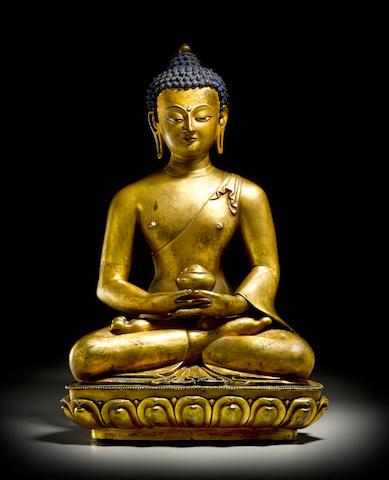 A gilt copper alloy figure of Amitabha Tibet, circa 18th century