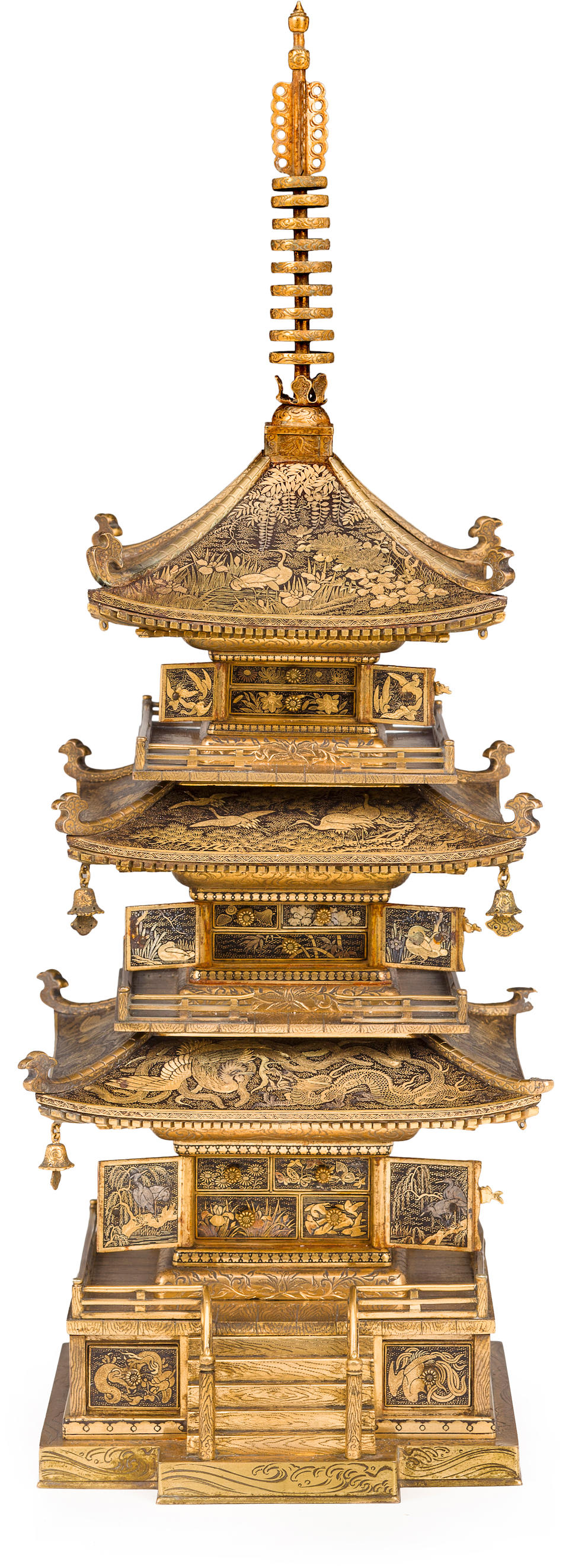 A fine Komai model of a three-tiered pagoda By the Komai workshop, Meiji era (late 19th century)