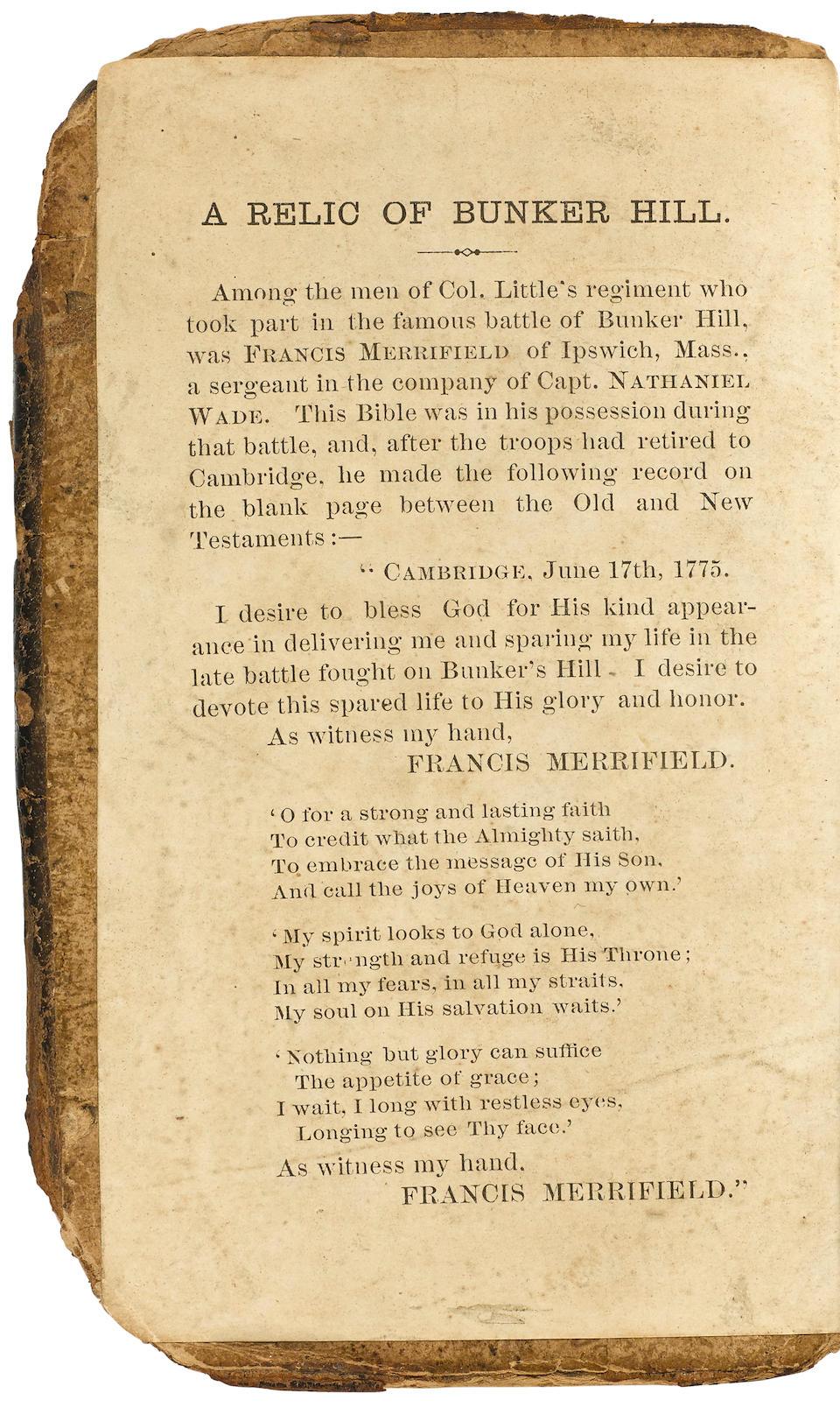 THE BUNKER HILL BIBLE OF FRANCIS MERRIFIELD. The Holy Bible.  Edinburgh: printed by Adrian Watkins, 1755.