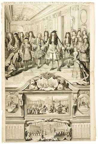 LOUIS XIV ROYAL WALL ALMANAC FOR 1701. Le Roy declare Monseigneur le Duc d'Anjou Roy d'Espagne.... Paris: F. & G. Landry, [1700].