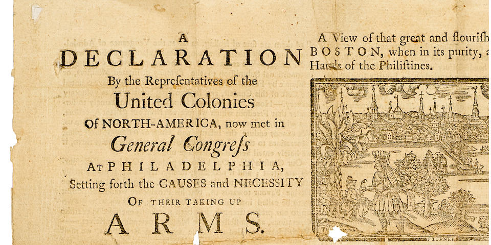 THE CAUSES AND NECESSITIES OF TAKING UP ARMS. [CONTINENTAL CONGRESS.] A Declaration by the Representatives of the United Colonies of North-America, now met in General Congress at Philadelphia, setting forth the Causes and Necessity of their Taking Up Arms ... July 6th, 1775. [Portsmouth, N.H.]: Sold at the printing-office in Portsmouth [by Daniel Fowle, 1775].