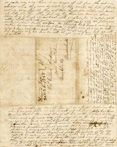 "IMPORTANT MORMON LETTER ABOUT THE FIRST MAJOR CALIFORNIA GOLD STRIKE. POMEROY, IRENE. 1835-1860. Autograph Letter Signed (""Irene""), 4 pp recto and verso,"