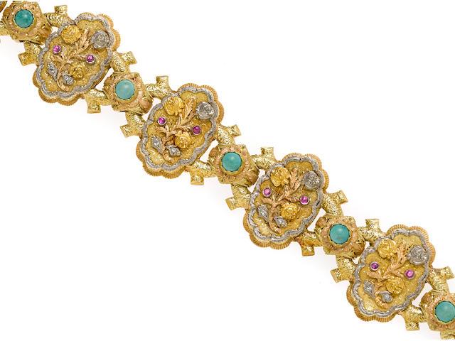 A gem-set and 18k tricolor gold bracelet, Cazzaniga
