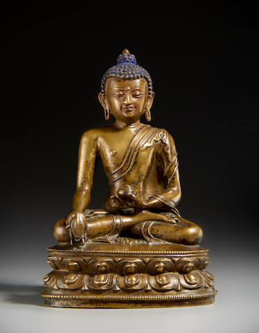 A copper alloy figure of Bhaisajyaguru Tibet, 15th/16th century