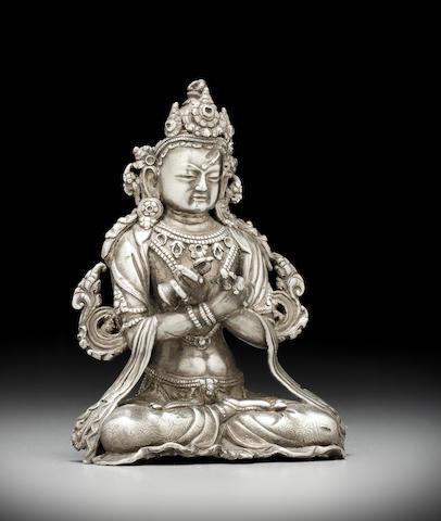 A silver alloy figure of Vajradhara Tibet, circa 16th century