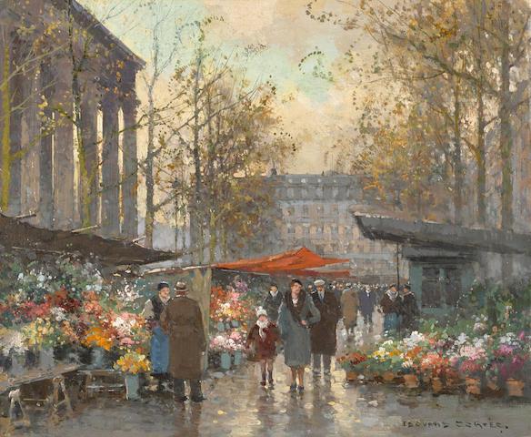 Edouard Henri Leon Cortès (French, 1882-1969) Le Marché aux fleurs à la Madeleine 15 1/8 x 18 1/4in (38.5 x 46.5cm)