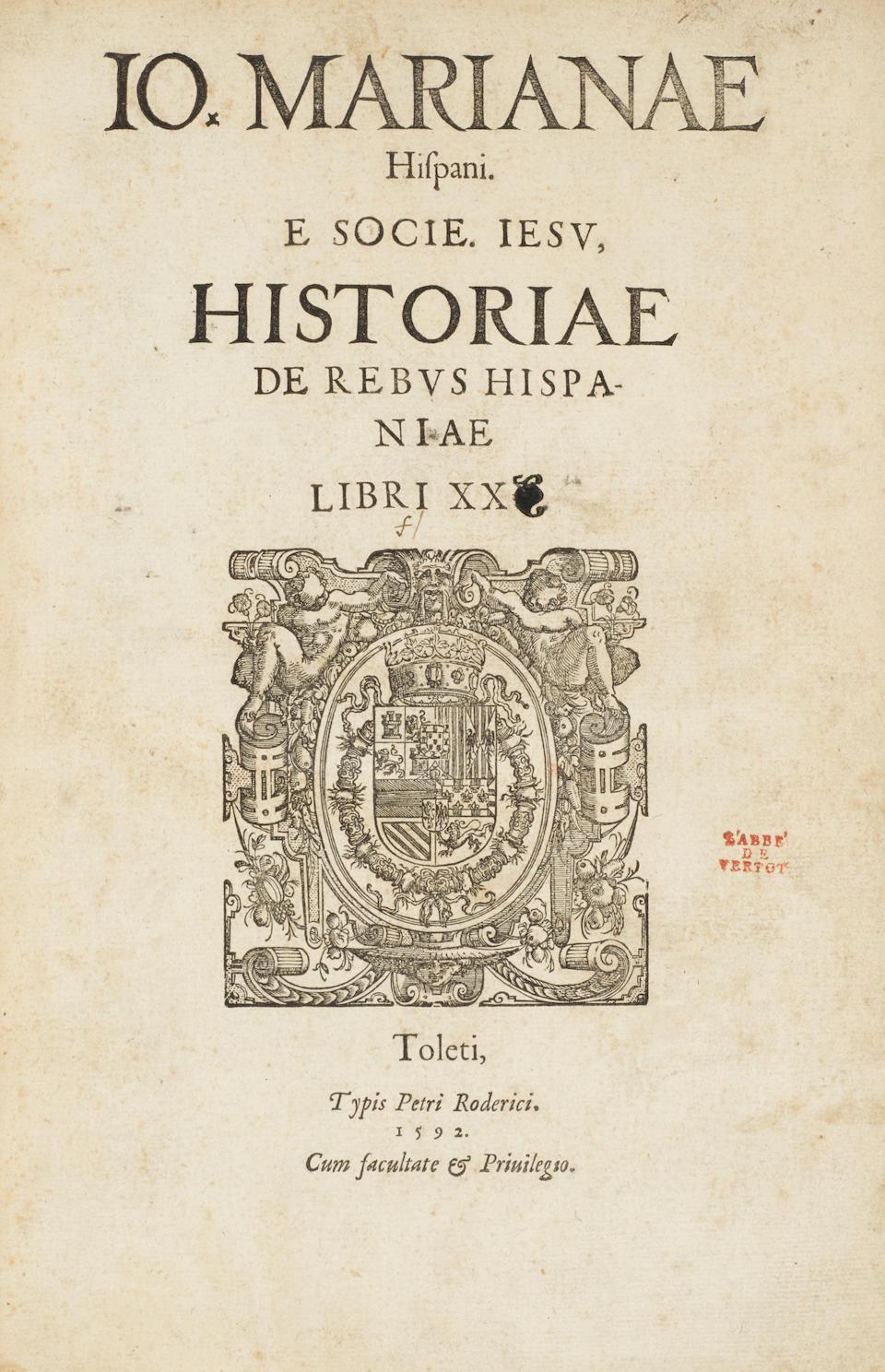 MARIANA, JUAN DE. 1536-1624. Historiae de rebus Hispaniae libri XX.  Toldedo: Pedro Rodriguez, 1592.