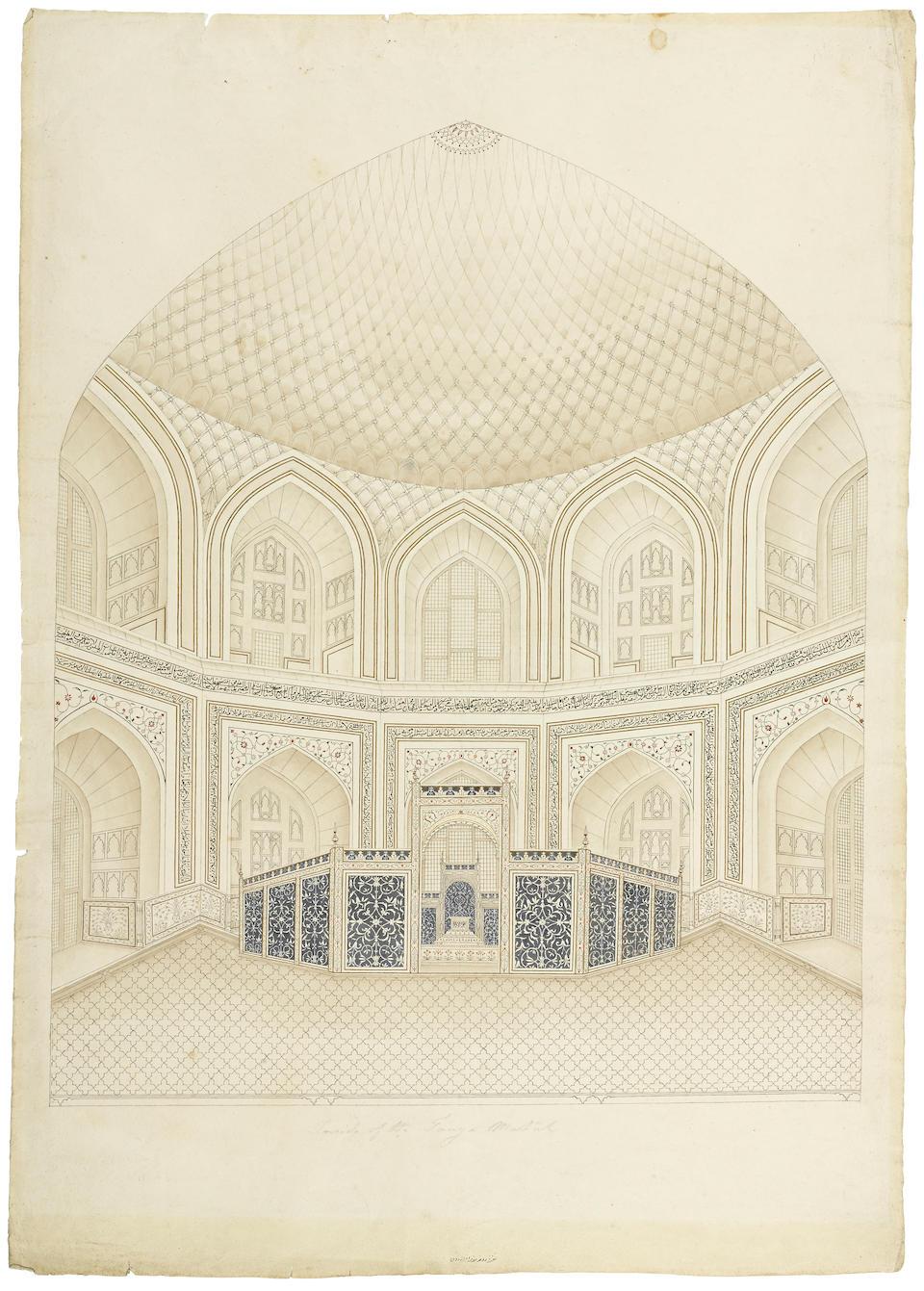 The interior of the Taj Mahal  Company School, Delhi or Agra, circa 1805