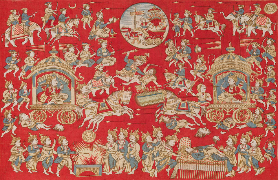 A roller-printed cotton handkerchief with scenes from the Mahabharata Manchester, UK, circa 1880
