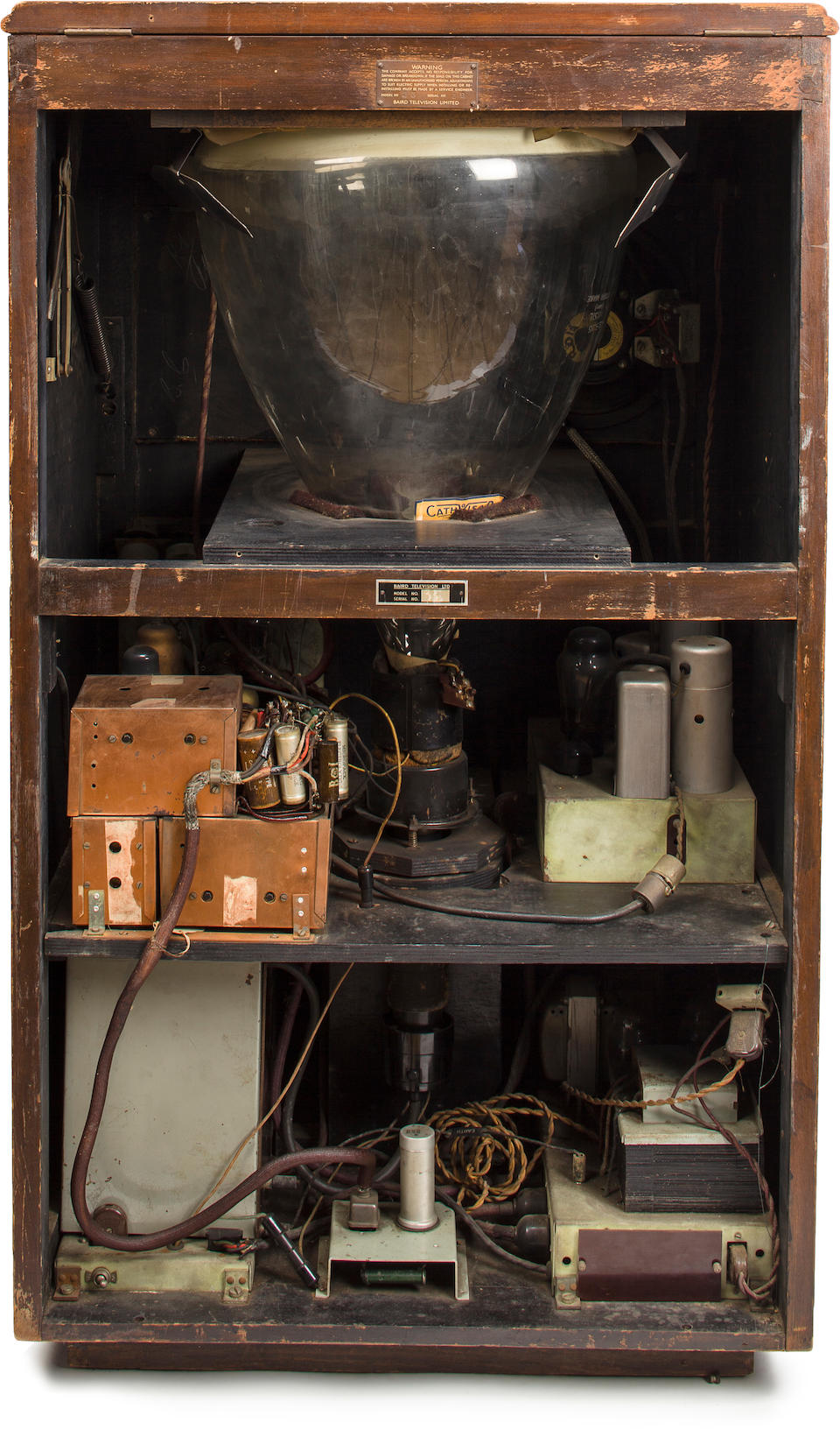EXTREMELY RARE MIRROR-LID TYPE 23 TELEVISOR TELEVISION RECEIVER, BY BAIRD TELEVISION LTD.