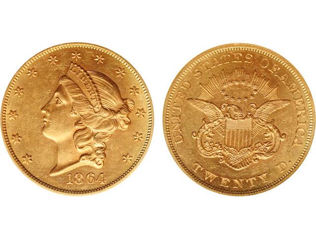 1864 $20 MS60 NGC